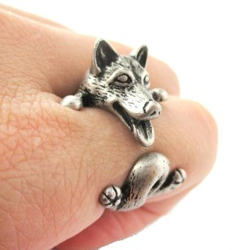 Realistic Husky Puppy Shaped Animal Wrap Ring in Silver | Sizes 6 to 9
