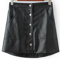 Black Buttoned Front Pockets Faux Leather Skirt