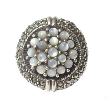Round Pearl Silver Ring