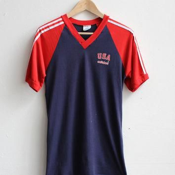 Vintage 1980's Adidas Olympic T-Shirt / Made in USA / Size Small