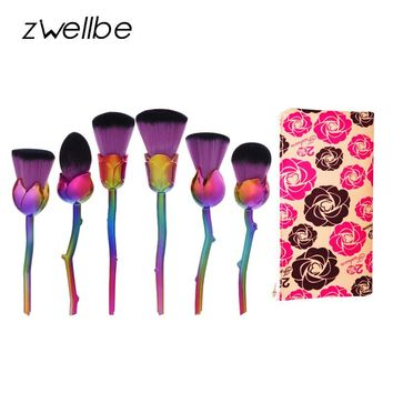 6pcs Classic Soft Synthetic Cosmetic Makeup Tools Kit