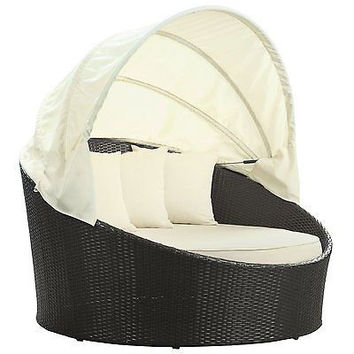 Outdoor Wicker Patio Canopy Bed in Espresso with White Cushions Free Shipping