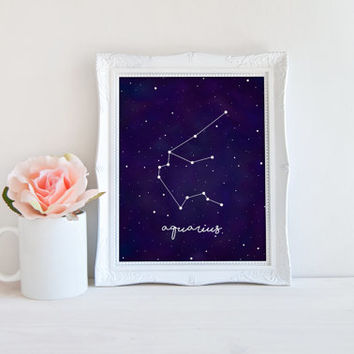 Aquarius Zodiac Constellation Horoscope Watercolor Printable Sign, Stars Night Sky, Printable Digital Wall Art Template, Instant Download