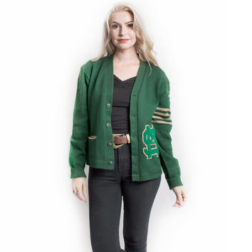 Vintage 50s Varsity Sweater - Green Wool knit Letterman Cardigan 1950 - L Large
