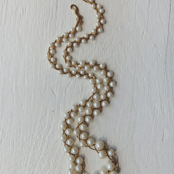 Twisted Pearl And Chin Necklace / Retro Necklace / Pearl Necklace / Costume Jewelry / Artistic Vintage Jewelry / Retro Chic Jewelry / Woven