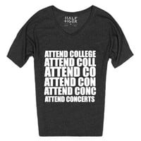 attend concerts college wht dolman vneck-Heather Onyx T-Shirt