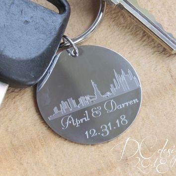 Skyline, Personalised Keyring, Custom Keychain, Gift for Dad, Personalised Gift, Gift for Mom, Husband Gift, Boyfriend Gifts, Wedding Gift