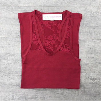 SALE - Burgundy Half Lace Racerback Tank Top, Plain Tank Top, Yoga Tank Top, Workout Tank Top, Burnout Tank Top