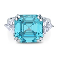 Sterling Silver Asscher Blue CZ 3-Stone RingBe the first to write a reviewSKU# R308-03