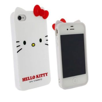 TFS Cute Hello Kitty Cat Ears 3D Bow Soft TPU Hybrid Case for Apple Iphone 5/5G/5S Hot High Impact Bow Cover (White KT cat)