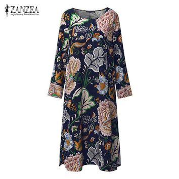 ZANZEA Vintage Women Pullover Loose Dress Casual Long Sleeve O Neck Dresses Robe Plus Size Cotton Spring Dress Vestidos