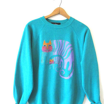 Vintage 1980s 1990s LAUREL BURCH Cat Cats Rainbow Colorful Sweatshirt Sz L (42-44)