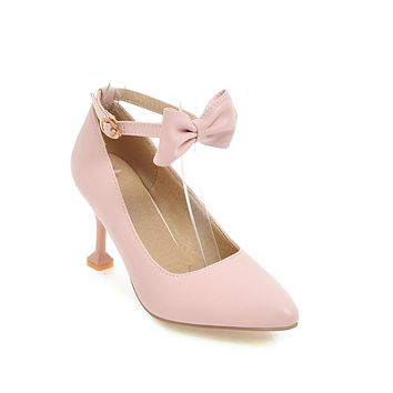 Pointed Toe Bowtie Ankle Strap Mid Heel Pumps Shoes 8679