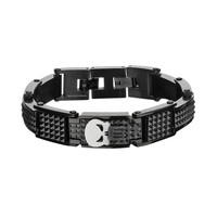 The Punisher Black Ion-Plated Stainless Steel Spike Bracelet - Men