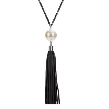Charm Beads Leather Tassels Pendant Necklace