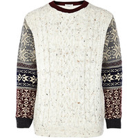 River Island Boys cream fairisle sleeve sweater