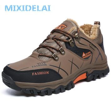 MIXIDELAI Men Winter Boots Fur Warm Snow Boots Men Shoes Adult Casual Outdoor Unisex Sneakers Ankle Boot Rubber Men Boot 47