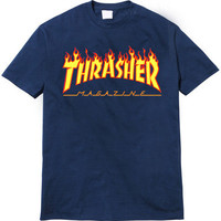 Thrasher Magazine Red Flame Logo Dark Blue & Yellow T-Shirt