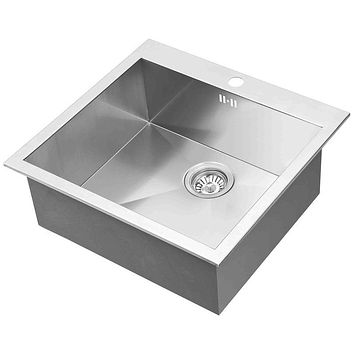 DAX-AT54S / DAX HANDMADE SINGLE BOWL TOP MOUNT KITCHEN SINK, 18 GAUGE STAINLESS STEEL, BRUSHED FINISH