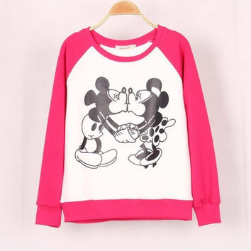 SIMPLE - Disney Mickey and Minnie Mouse Love Cute Round Neck Women Casual Sweatshirt Shirt Top blouse T-shirt b4150