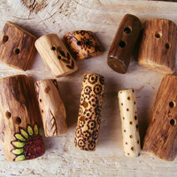Special Offer - 10 Rustic Wood Sewing Buttons - Mixed Pack - Small, Medium, Large - Wood Burned - UK Buttons