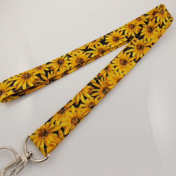 Lanyard Teacher Lanyard Nurse Lanyard Sunflower Lanyard Floral Lanyard Sunflowers  Work Lanyard Sunflower Keychain Flower Key Holder