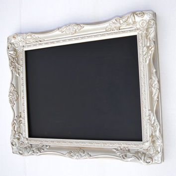 READY TO SHIP Framed wedding chalkboard menu board framed chalkboard 11x14 inches in champagne mist color