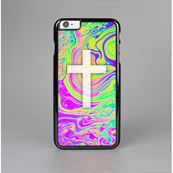 The Vector White Cross v2 over Neon Color Fushion Skin-Sert for the Apple iPhone 6 Plus Skin-Sert Case