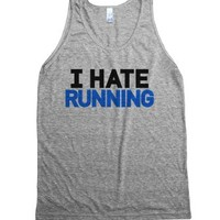 I Hate Running Tank Top (blue Black Ida90blkb3)-Athletic Grey Tank