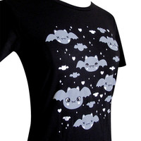BAT T-Shirt - Cute Kawaii Halloween Bats Shirt - (Available in Ladies sizes S, M, L, XL)