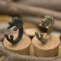 Handmade Old Silver Cute Dog Ring Best Gift + Beautiful Gift Box Ring-99