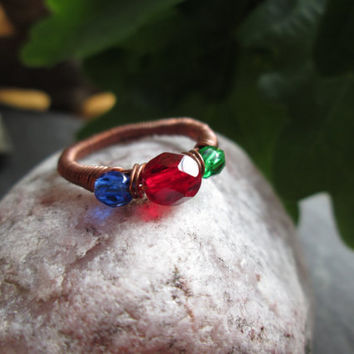 Copper Wire Wrapped Ring, Natural Elements Glass Beads, Game Fantasy Inspired Ring, Customised Size, Fire, Water, Earth, Red, Blue and Green