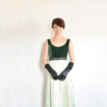 two tone green velvet gown . 1960 formal maxi dress . rhinestones gems and everything .extra small.xs