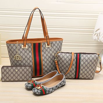 GUCCI 2018 NEW Women's Counters Stylish High Quality Four-piece F-KSPJ-BBDL brown