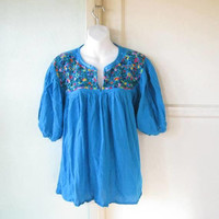 Turquoise Peasant Blouse w/ Multicolored, Embroidered Birds & Flowers; Women's Large Blue Folk/Bohemian Cotton Top; U.S. Shipping Included