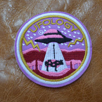 UFO Iron on Patch 1 3/4""