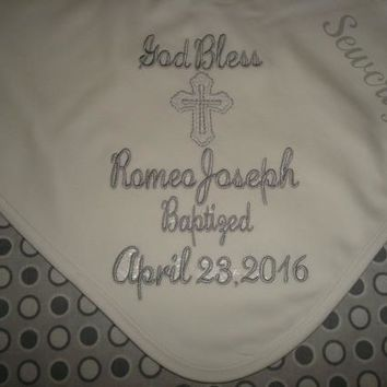 Romeo Personalized Baptism Blanket Christening Blanket  with Choice of name and date
