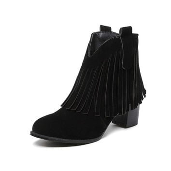 Pointed Toe Tassel Ankle Boots High Heels Chunky Heel 2551