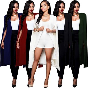 Women Cloak Cape Long Blazer Coat Fashion 5 Colors Personality Notched Neck Lapel Split Jacket Suits