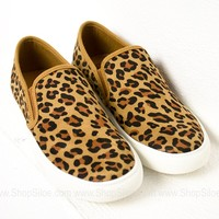 Suede Leopard Slip On Shoes| Best Seller