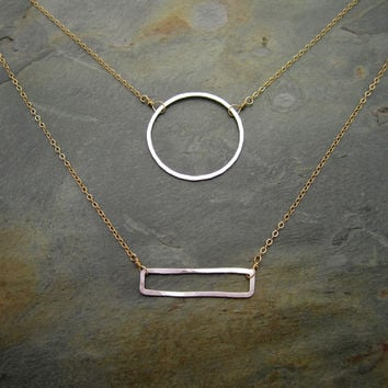 Hammered Shapes Mixed Metal Necklace