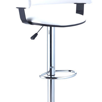powell white faux leather barrel u0026 chrome adjustable height bar stool