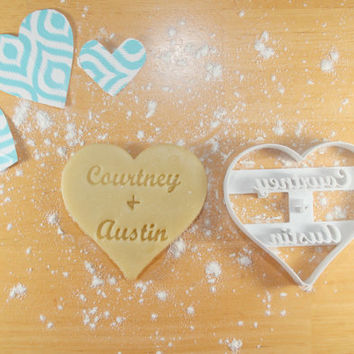 Personalized Couples Heart 3D Printed Cookie Cutter | Wedding / Bridal Shower