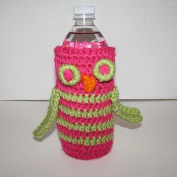 Water Bottle Cozy Dark Pink and Green Owl by thecrochetloft