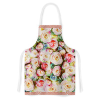 "Dawid Roc ""Pastel Rose Romantic Gifts"" Green Photography Artistic Apron"