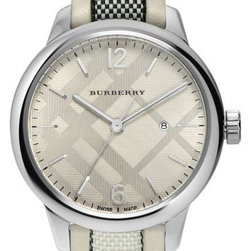 Burberry Check Leather Strap Watch, 32mm | Nordstrom