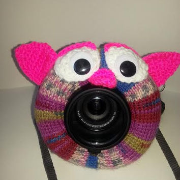 Camera Cover, Photographer Equipment, Colorful Camera Cover, Lens Buddy, Crochet Owl, Colorful Owl