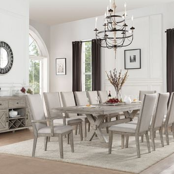 "Acme 72860-62-63 7 pc Rocky gray oak finish wood 118"" long double pedestal dining table set"