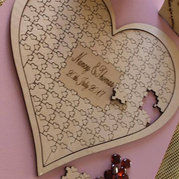Custom Personalized Puzzle Heart Shaped Wedding Guestbook Alternative Hanging Heart Puzzle-Jigsaw Puzzle Guestbook,Jigsaw Wedding Guest Book
