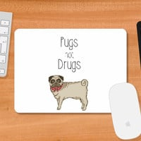 Pugs not Drugs Cute Mousepad | Artist : Aditya Golechha